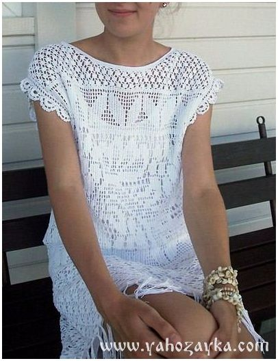 Платье-туника с бахромой крючком. Пляжная туника крючком филейным узором | Я Хозяйка
