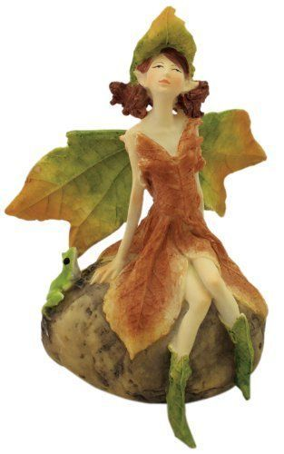 "6"" Leafy Fairy on Rock with Frog Garden Terrarium Dollhouse Miniature Outside"