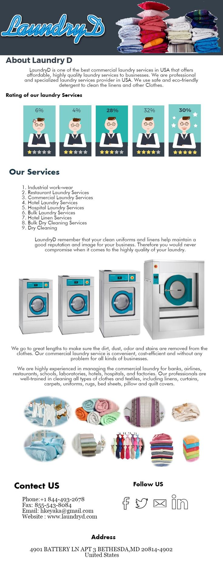 Are you search laundry services Industrial work-wear and Commercial Laundry Services in USA then you can contect LaundryD. LaundryD is offring best laundry services and dry cleaning services for industrial and commercial so you are free for contact by call 8444932678 any time with LundryD.