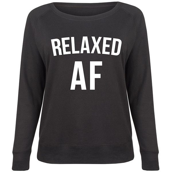 LC trendz Plus Black 'Relaxed AF' Slouchy Pullover ($25) ❤ liked on Polyvore featuring plus size women's fashion, plus size clothing, plus size tops, plus size, womens plus size tops, sweater pullover, pullover top, relaxed fit tops and slouchy tops