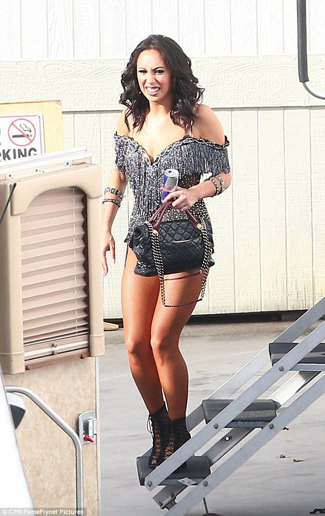 Looking good: Cheryl Burke was also pictured after the show in her skimpy outfit