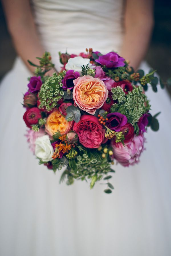 Beautiful orange, plum and pink wedding bouquet - perfect for Autumn.  From 'Ian Stuart and Sparkly Kate Spade's For A Bright and Colourful Spring Time Wedding' on www.lovemydress.net.  Photography by http://www.novaweddingphotography.co.uk/  Photography by http://www.novaweddingphotography.co.uk/