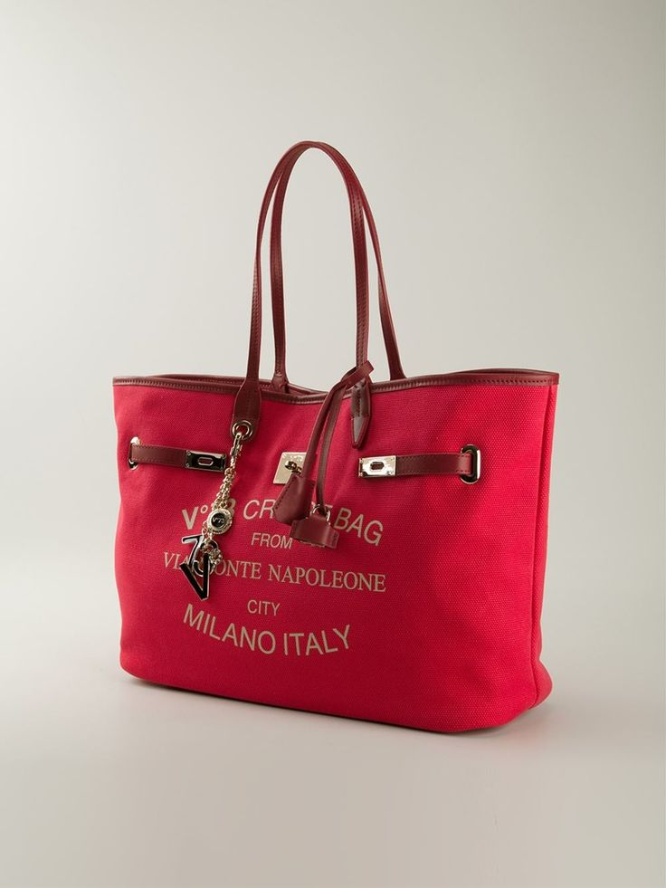 Scarlet red cotton and leather 'Montenapoleone' tote from V73.