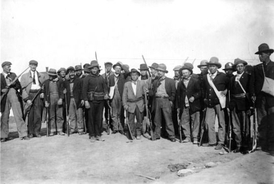 Coal workers in Colorado arm themselves as the strike turns bloody, eventually culminating into the Colorado Coal/Labor Wars, in which many armed striking workers retaliated and defended themselves & their families from violent scabs, corporate gun-thugs and even the Colorado National Guard, while also seizing mines and destroying company property in retribution for the massacre at Ludlow. 1914.