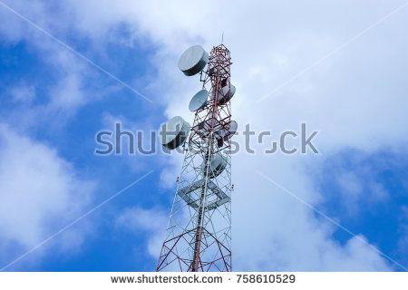 Satellite dish, antenna network tower and radio repeater of Communication and telecommunication with blue sky and cloud