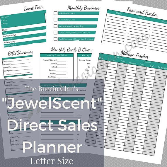 JewelScent  Direct Sales Planner  Letter Size  Home