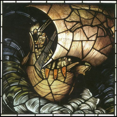 'The Viking Ship' (1883-84). Stained glass designed by Edward Burne-Jones and fabricated by Morris & Co.