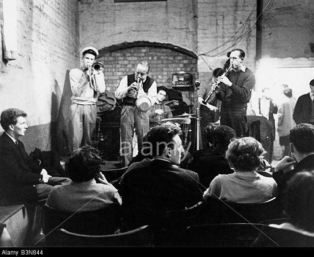 Soho Jazz Cellar In Hams Yard, Soho, London, About 1957. The Jazz cellar later became The Scene Club.