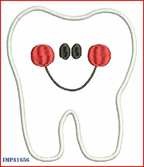 instant download tooth character applique digitized embroidery machine design pattern 4x4 5x7