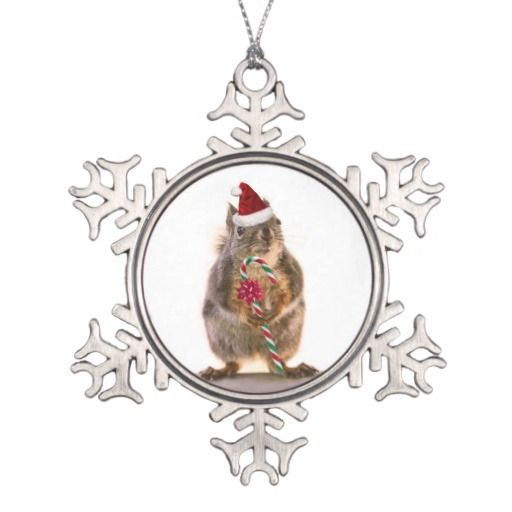 Christmas squirrel pewter snowflake ornament photos