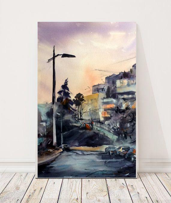 Pittura ad acquerello di paesaggio urbano città di di CanotStop