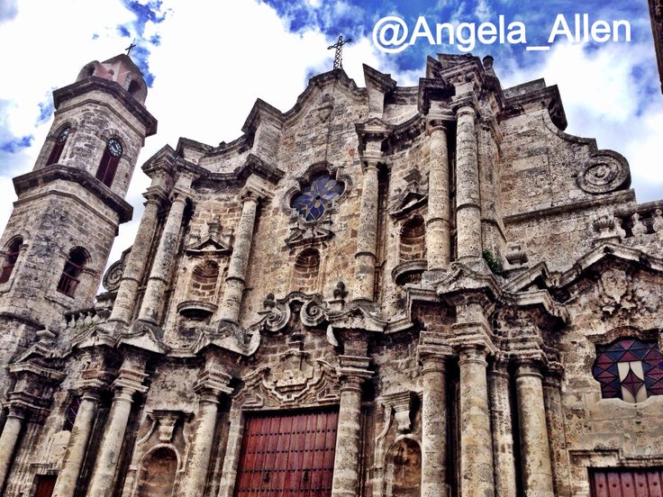 A closer look at the beautiful architecture of the   San Cristobal Cathedral in Havana Square