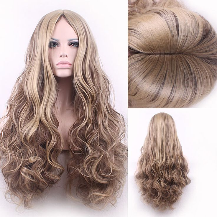 75cm Fashion Sexy Long Big Curly Wavy Cosplay Central Parting Women Wigs Hair Wig Girl Gift