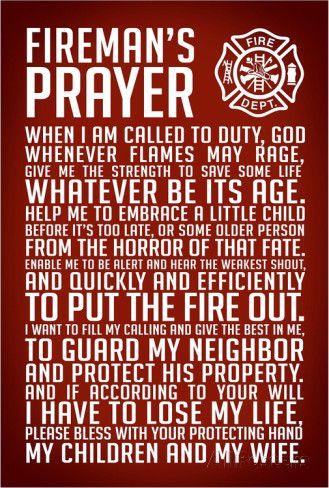 A Fireman's Prayer Art Print Poster Photo at AllPosters.com