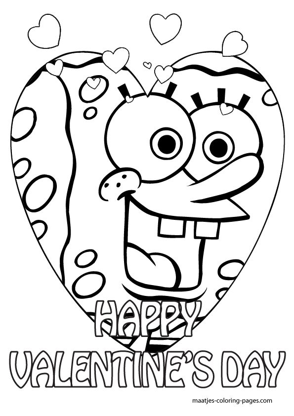 31 best images about valentine coloring sheets on for Spongebob valentine coloring pages