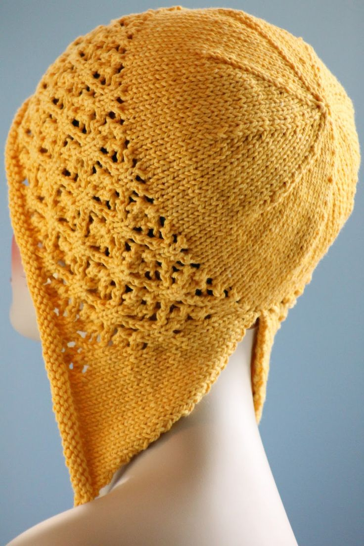 Floral Mesh Bonnet Balls to the Walls Knits, A collection of free one- and two- skein knitting patterns