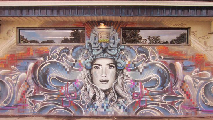 "Street Art by SKR3AM ""Goddess of Paranoia"""