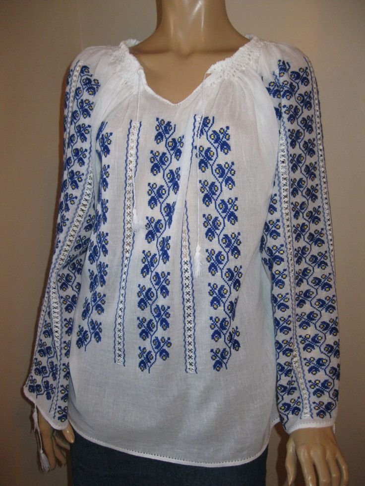 Hand embroidered Romanian blouse - dark blue flowers size M/L by RealRomania on Etsy