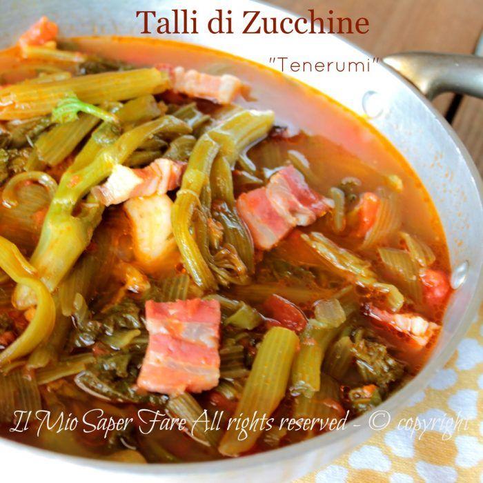 Talli di zucchine a zuppa minestra estiva di tenerumi il mio saper fare