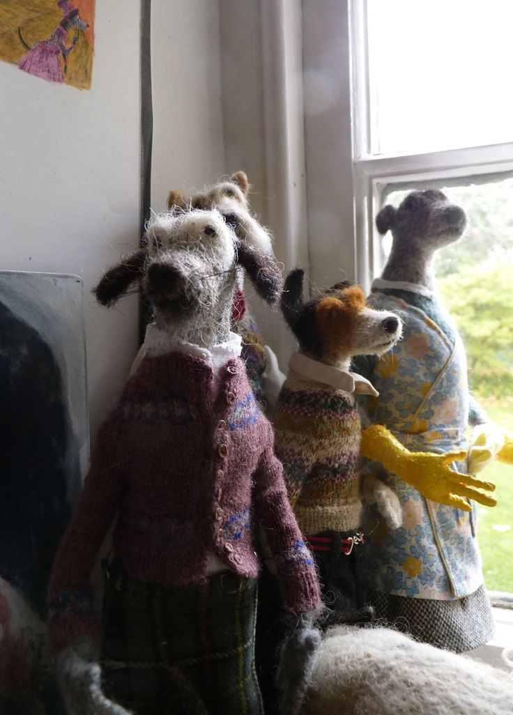 Felted wool dogs with handknit sweaters by Domenica More Gordon on The Bible of British Taste blog