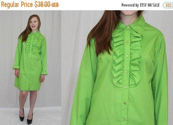 Journée des anciens combattants vente Vintage des années 70 MOD Lime vert SMOKING volant Maj gaine Midi jour rétro robe M L