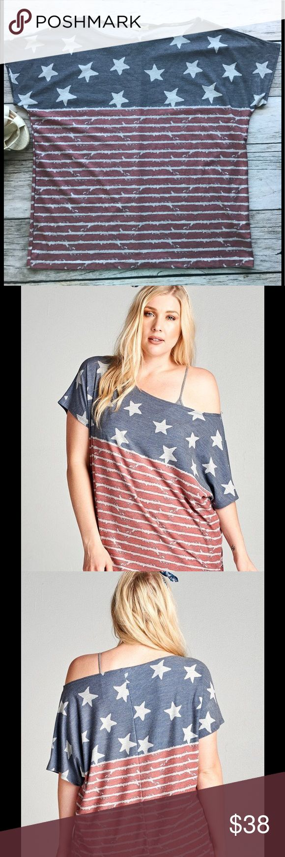 Plus Size July 4th Top Oversized top for a casual off-the-shoulder look. Must have for the 4th of July, and Labor Day weekend!       Fabric: French Terry  Content: 87% Polyester, 10% Rayon, 3% Spandex  Made In: USA mockingbird + poppy Tops