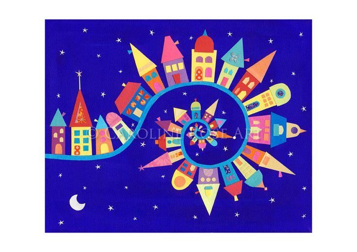 TwistyTwirly Town Fine Art Print by CarolineRoseArt on Etsy