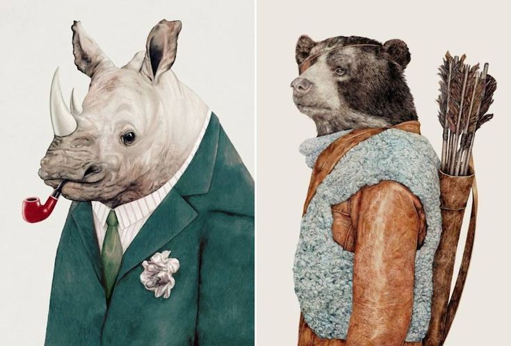 Trendy and Funky Animal Illustrations  The Californian shop Animal Crew offers to its clients quite unexpected illustrations of animals. These beasts are highlighted like humans in original clothes. Here an hippopotamus with a suit smoking his pipe. There a deer wearing a shirt full of colorful motives. You can get their work such as prints or cushions via their Etsy shop.             #xemtvhay