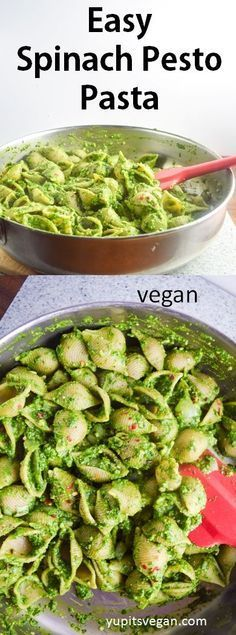 Easy Spinach Pesto Pasta | http://yupitsvegan.com. Simple vegan spinach and basil pesto coats shell pasta for this fresh, healthy spring dish.