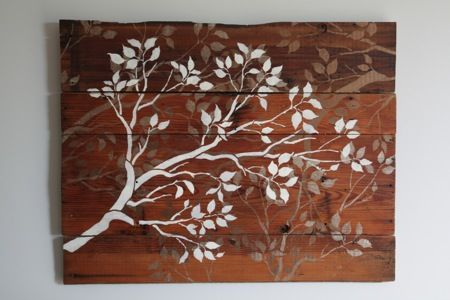 Flowered wood plank wall art: Wall Art, Wallart, Woods, Wood Wall, Craft Ideas, Stencil, Diy, Barn Wood