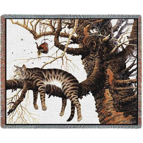 Charles Wysocki | Too Pooped To Participate | Cat Cotton Throw Blanket | 70 x 54 - Cat Gifts for People