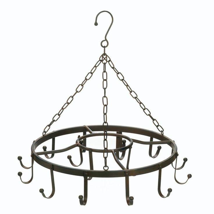 Circular Pot Hanger. Decorative circular pots and pans hanger. This charming kitchen pot hanger will compliment any kitchen decor.