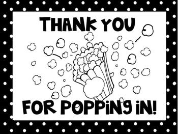 Thank you for popping in open house gift school ideas for Open house coloring pages