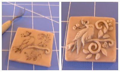 Cynthia Cranes Whimsical Animal Paintings, Porcelain Ceramics  Ceramic Jewelry Press Mold Tutorial - this has good information about using sculpy to make a mold for using with ceramic clay.  You carve out your design - guess bake it - then use more sculpy to press into the design to make he raised version.  bake that and now you have something you can push into your clay.