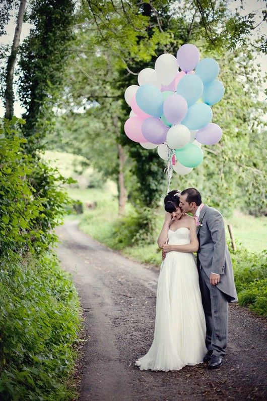 Love the pastel colorful balloons! Balloons can be used as foreground element & they're cheap!
