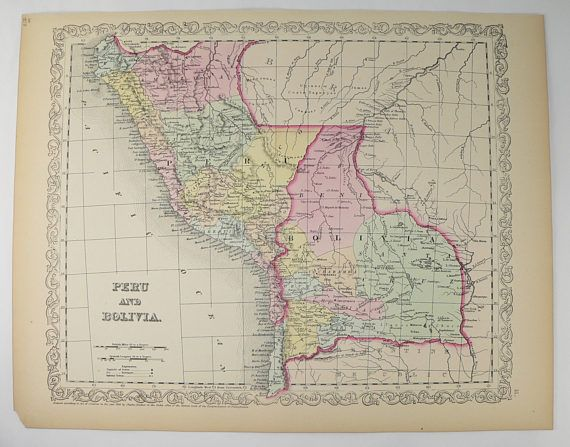 1858 Mitchell DeSilver Peru Map Bolivia South America Map, Peru Gift for Traveler, Latin America Decor Gift for Wife, Housewarming Gift available from OldMapsandPrints.Etsy.com #Peru #Bolivia #SouthAmerica #OriginalAntiqueMap #1858MitchellDeSilverMap
