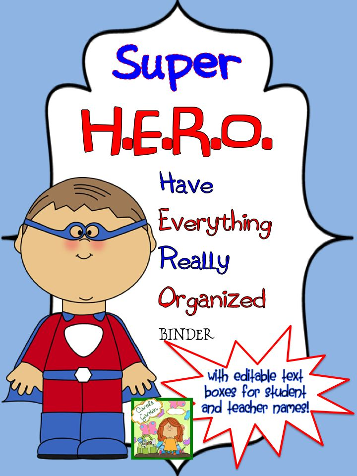 Your students will love these superhero binder covers! Teach your kids how H.E.R.O.s Have Everything Really Organized with these super-cute materials. Each binder cover has an editable text box with room to type the teacher name, student name, and school year. $ #superhero #binder #cover