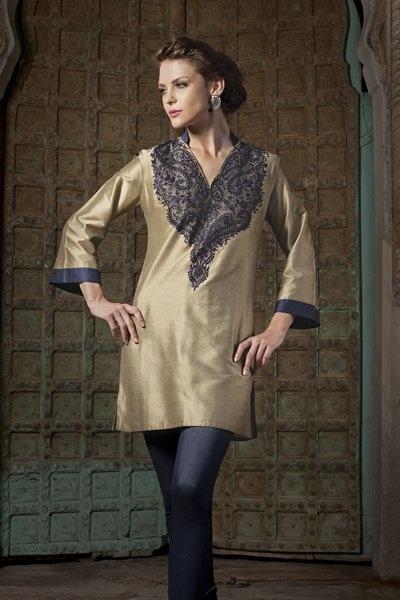 Spun silk kurti with resham work, priced at $159.