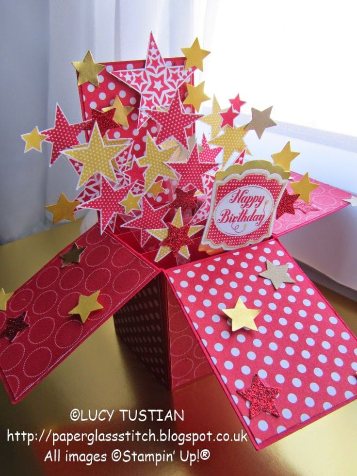 Paper. Glass. Stitch.: EXPLODING STARS BIRTHDAY POP-UP-BOX-CARD & CCC #031
