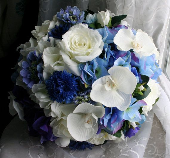 Blue Wedding Bouquet & Boutonniere  Orchids by jobywomackdesigns