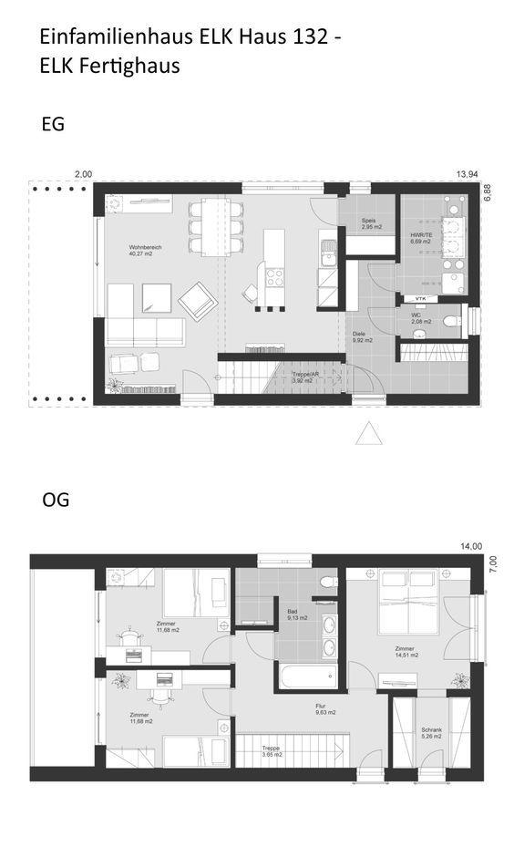 Modernes Design Haus Grundriss schmal mit Flachdach