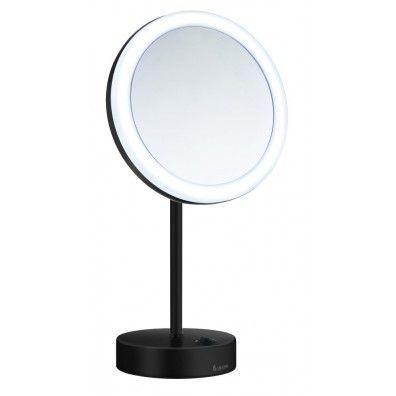 Smedbo Outline Kosmetikspiegel mit Dual LED - PMMA rund schwarz FK484EB