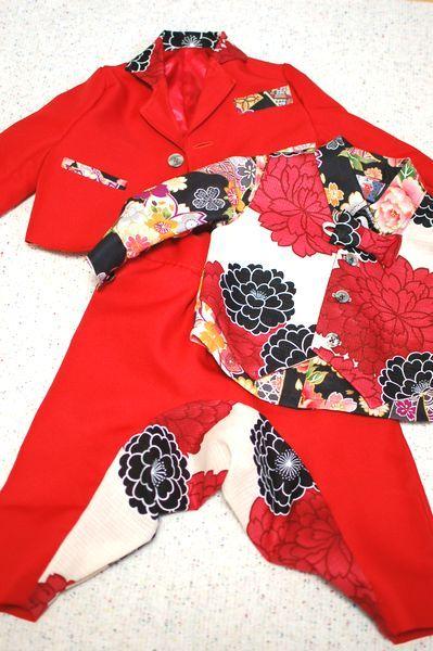 結婚式衣装・男の子キッズ 赤サルエルスーツ&ベスト一体型シャツ-手作り子供服の通販店 神の手