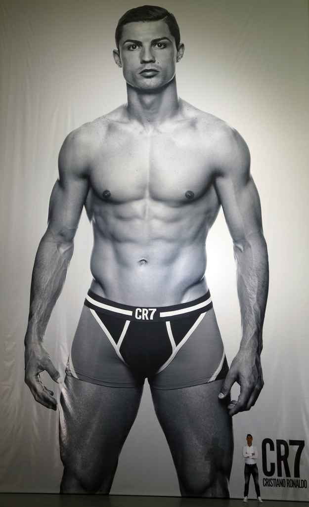 Cristinao Ronaldo, renowned soccer hunk, underwear model, and angelic Portuguese beauty, unveiled this giant and majestic picture of himself in underwear in Madrid today.