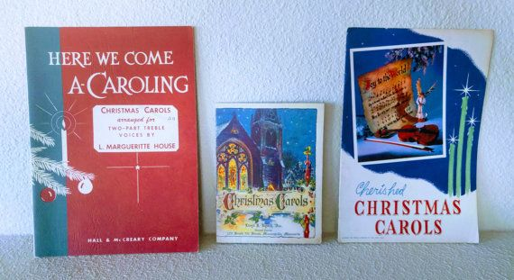 Vintage Christmas songbooks, ca. 1950s. Lot of 3.  Left to right:  1. Here We Come A-Caroling: Christmas Carols arranged for two-part treble voices by L. Marguerite House, published by Hall & McReary Company, Minneapolis, MN, 1954. 40 pages. 9 1/4 x 6 5/8.  2. Christmas Carols, published by Lloyd J. Lynch, Inc., compliments of John Hancock Mutual Life Insurance Company of Boston, MA, undated. 16 pages. 6 x 4 1/2.  3. Cherished Christmas Carols, published by Brown & Bigelow, St. Paul, MN…