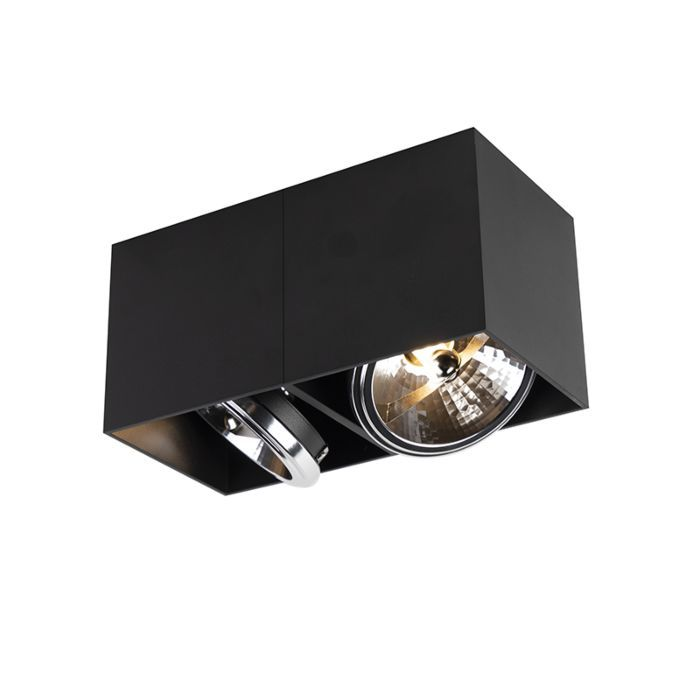 Design Spot Rectangular 2 Light Black Incl 2 X G9 Box Led Spot Plafond Design Design
