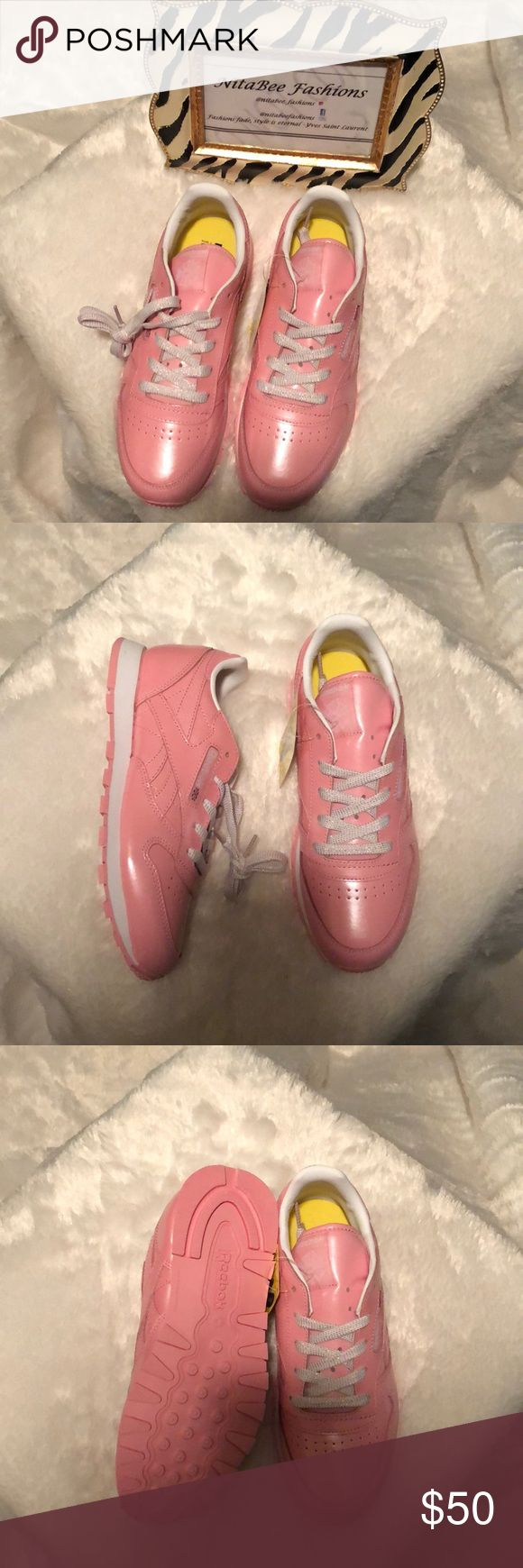 Reebok Classic Pink Leather Metallic Sneakers Sneakers are a girl's best friend and these pink Reebok Classic Leather trainers add international glam to anyones wardrobe Sz 3 | box missing top| New never worn | Reebok Shoes Sneakers