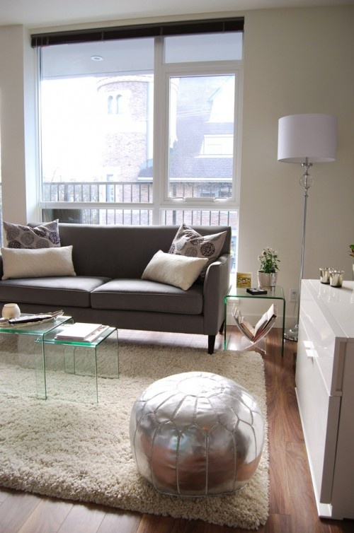 Silver Pouf Ottoman And Lucite Tables