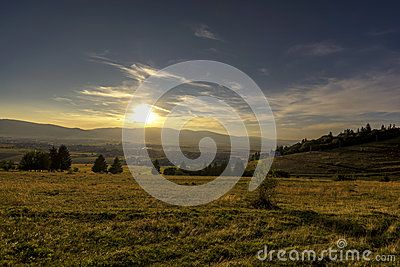 Sunset in Sumuleu, Harghita County, Romania