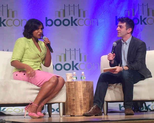 Today Mindy Kaling and her BFF / former co-worker / future co-author and former (???????????) flame B.J. Novak took the stage at NYC's Book Con to talk about Mindy's upcoming book Why Not Me?